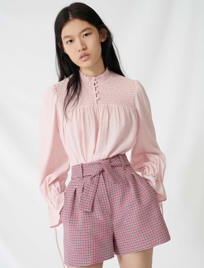 Belted, checked shorts - Skirts & Shorts - MAJE