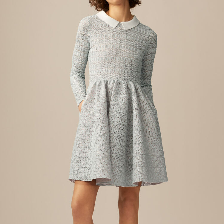 Rounded hem basket weave dress : Dresses color Blue Sky