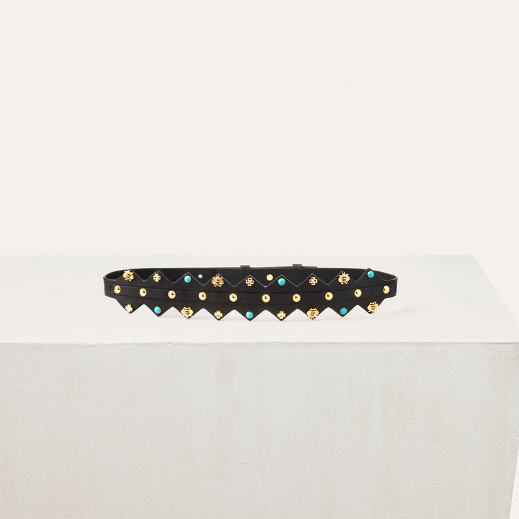 Leather belt with studs : Shoes & Accessories color Two-Tone