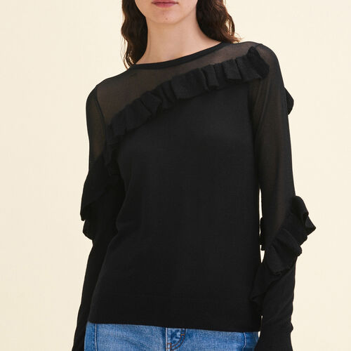 Fine jumper with frills : Sweaters color Black 210