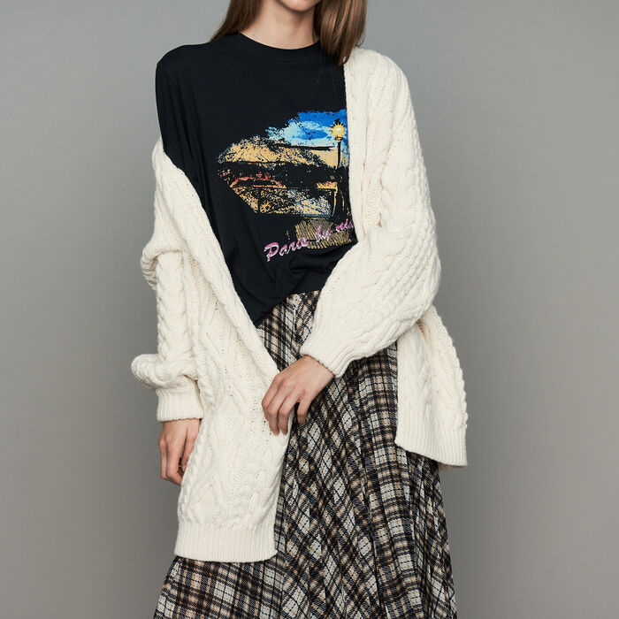 Oversize cardigan in twisted mesh knit : Sweaters color ECRU