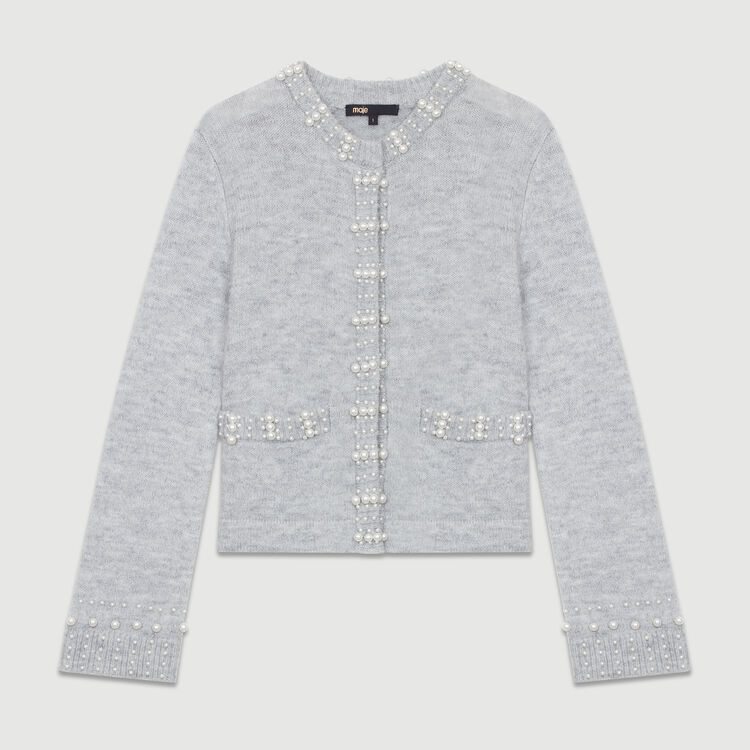 Wool-blend cardigan with pearls : Sweaters color Grey