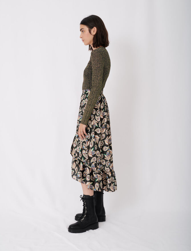 120jisley Long Printed Skirt With Ruffles Skirts Shorts Maje Com