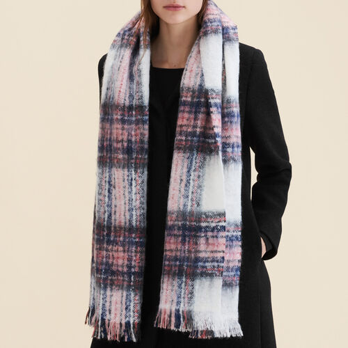 Thick checked scarf : Shoes & Accessories color Ecru