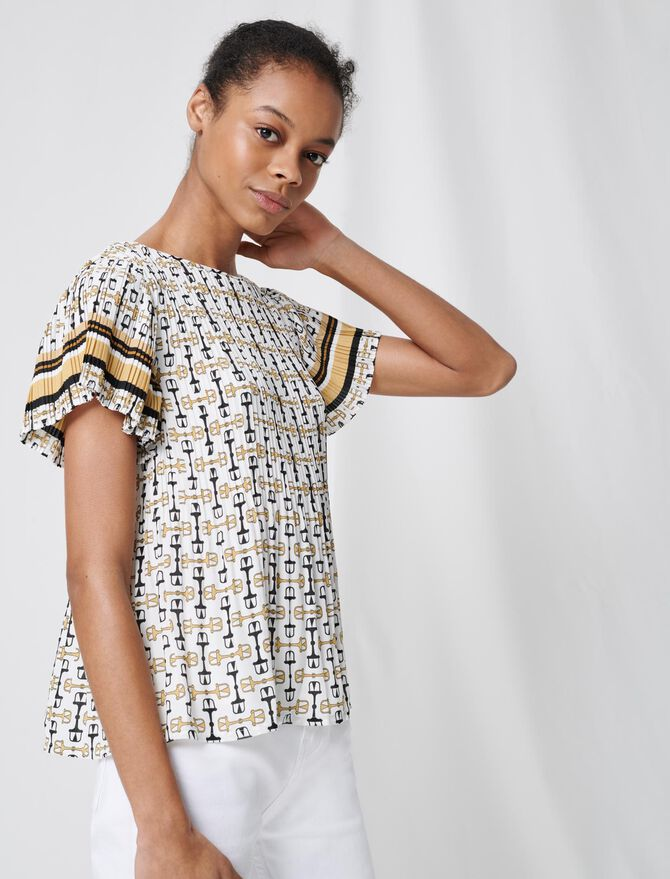 Pleated tunic with preppy print - Tops & T-Shirts - MAJE