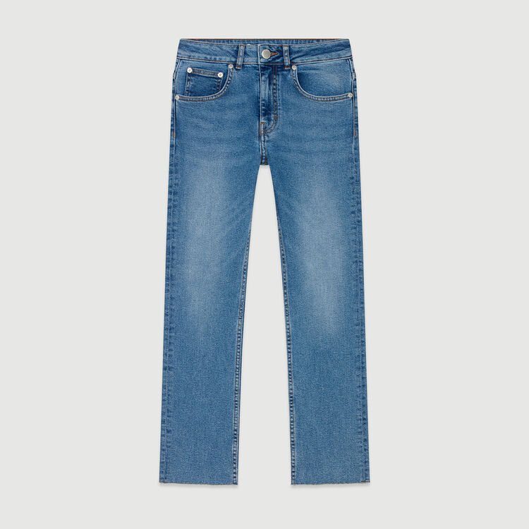 Straight jeans with fringe : Pants & Jeans color Denim