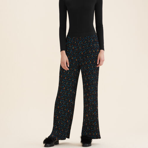 Pleated trousers with floral print : Pants & Jeans color PRINTED