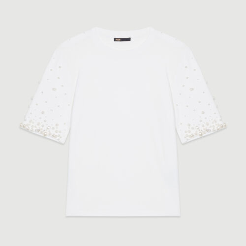 Cotton T-shirt with pearls : Tops & T-Shirts color White