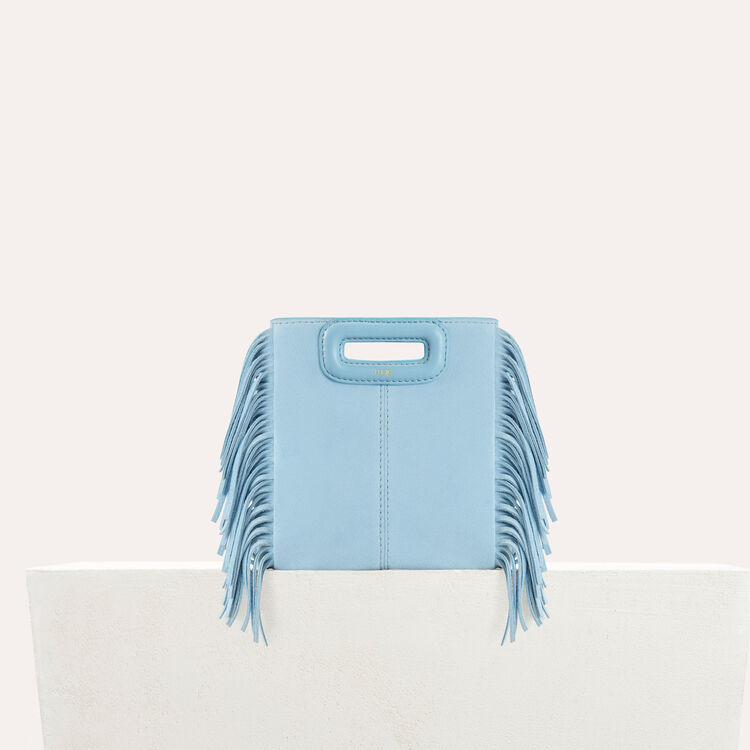 Suede mini bag M with fringe : Shoes & Accessories color Blue Sky
