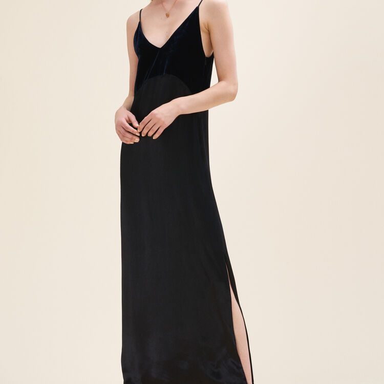 Long dual-material dress : Dresses color Navy