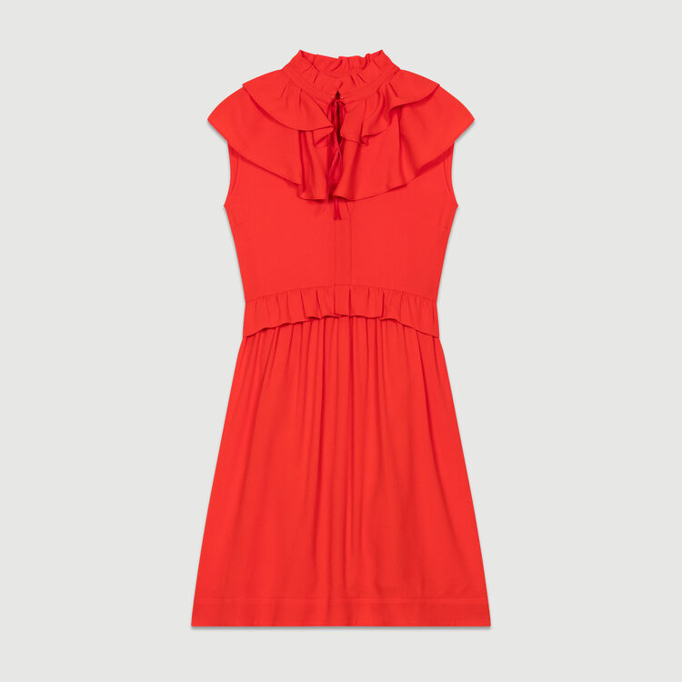 Sleeveless crepe dress : New Collection color ROUGE