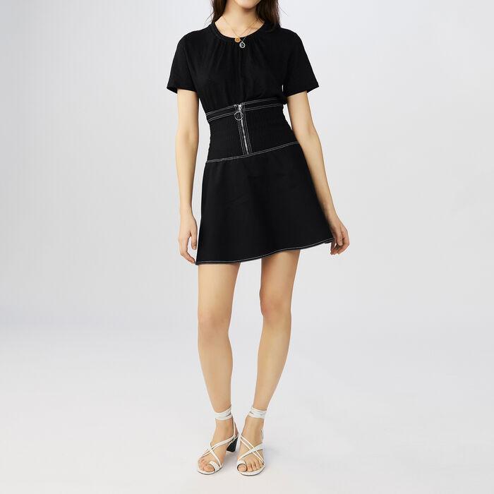 Linen t-shirt with crochet collar : Tops & T-Shirts color Black 210