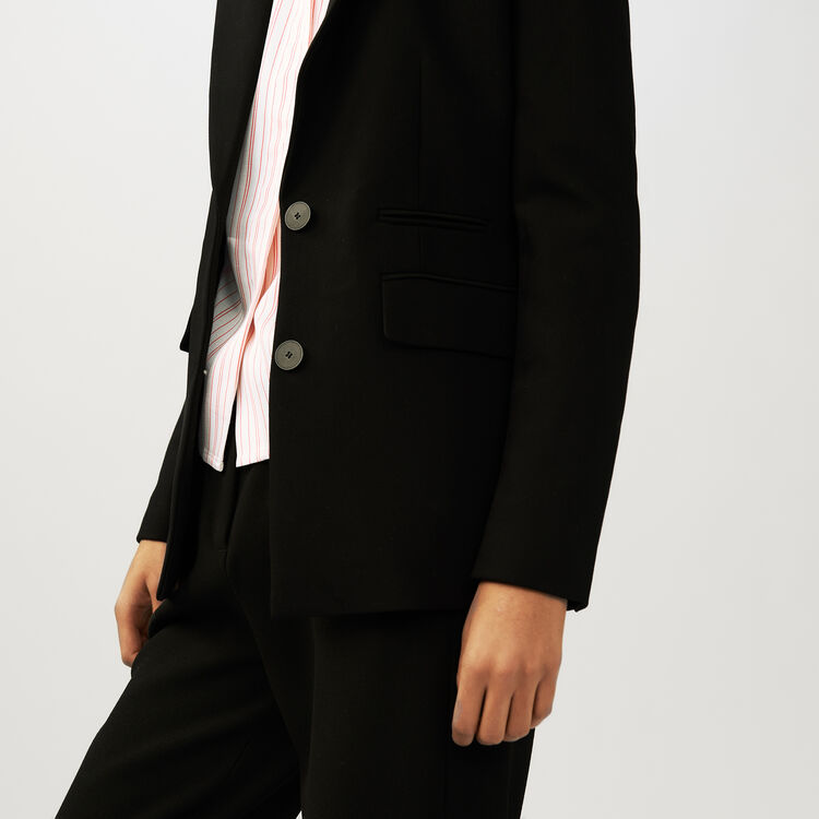 Tailored crepe jacket : Coats & Jackets color Black 210