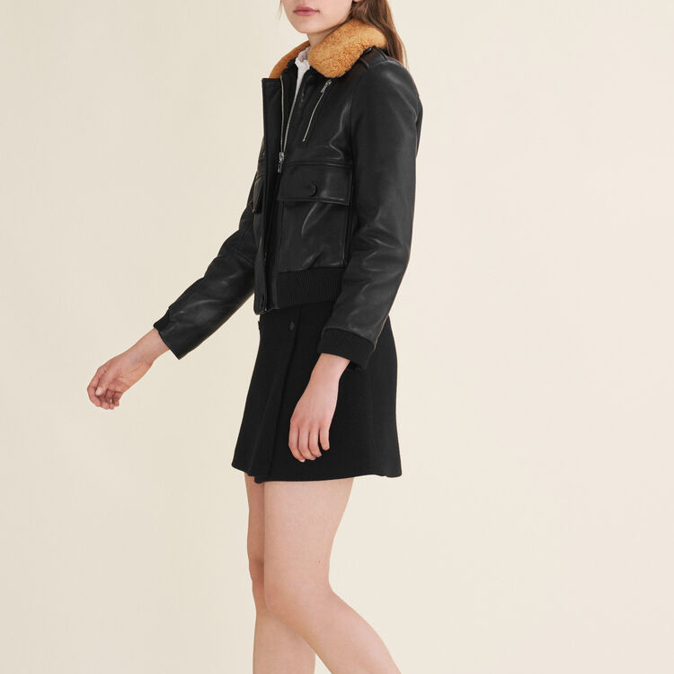 Aviator-style leather jacket : null color