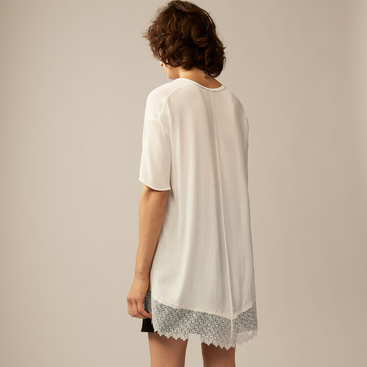 Oversized top with guipure lace : Tops & T-Shirts color Ecru