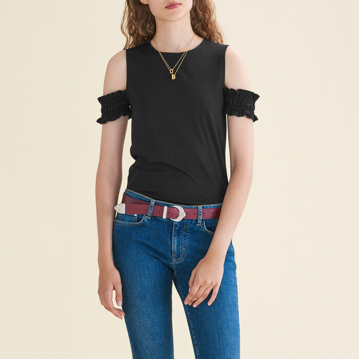 Off-the-shoulder sleeveless top : Tops & Shirts color Black 210