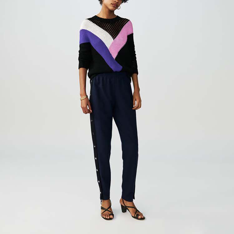 Crepe pants with snap buttons : Pants & Jeans color Navy