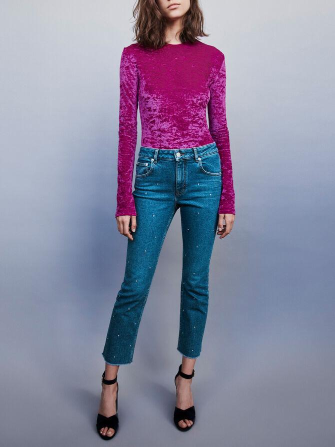 Strass-covered jean - Pants & Jeans - MAJE