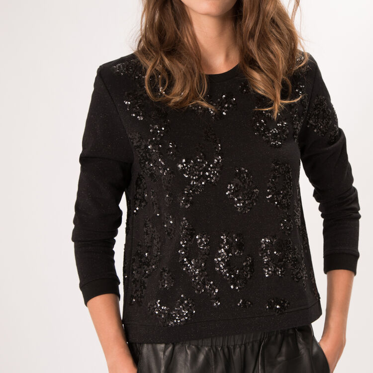 Cotton sweatshirt with beaded details. : Night looks color