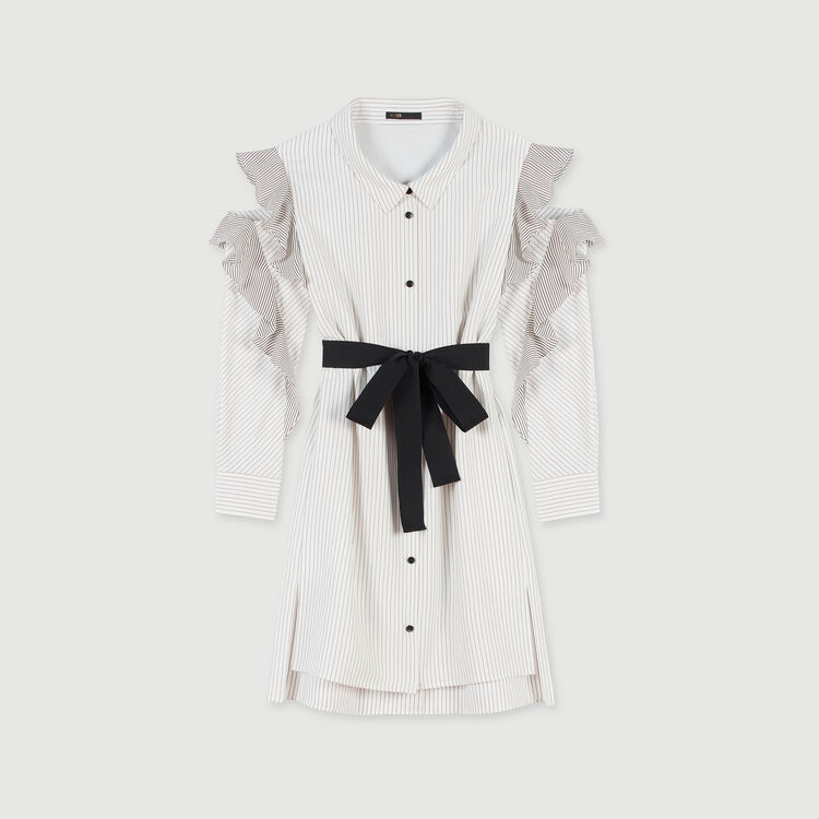 Striped ruffled shirt dress : Fall Pre-Collection color White / Black