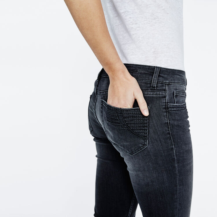 Skinny jeans with embroidered pocket : Carryover color Dark Grey
