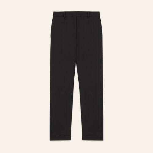 7/8 length crêpe trousers : Pants & Jeans color Black 210