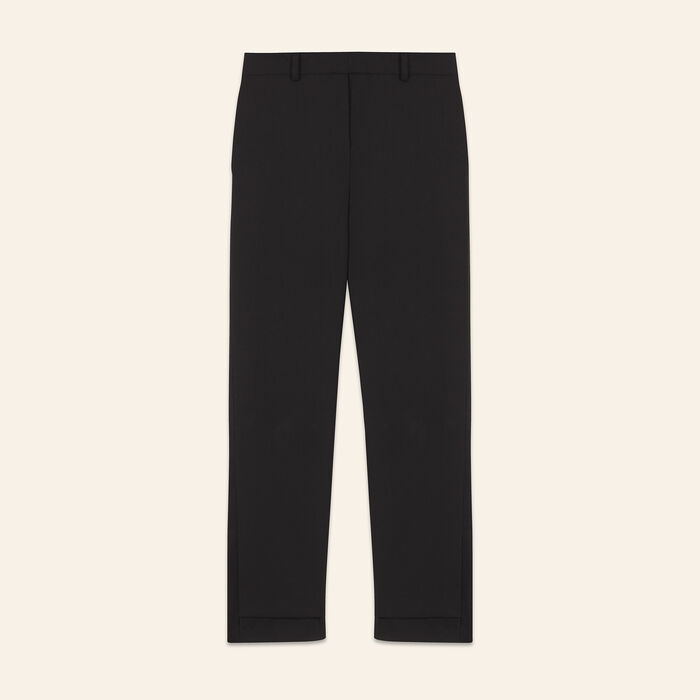 7/8 length crêpe trousers : null color