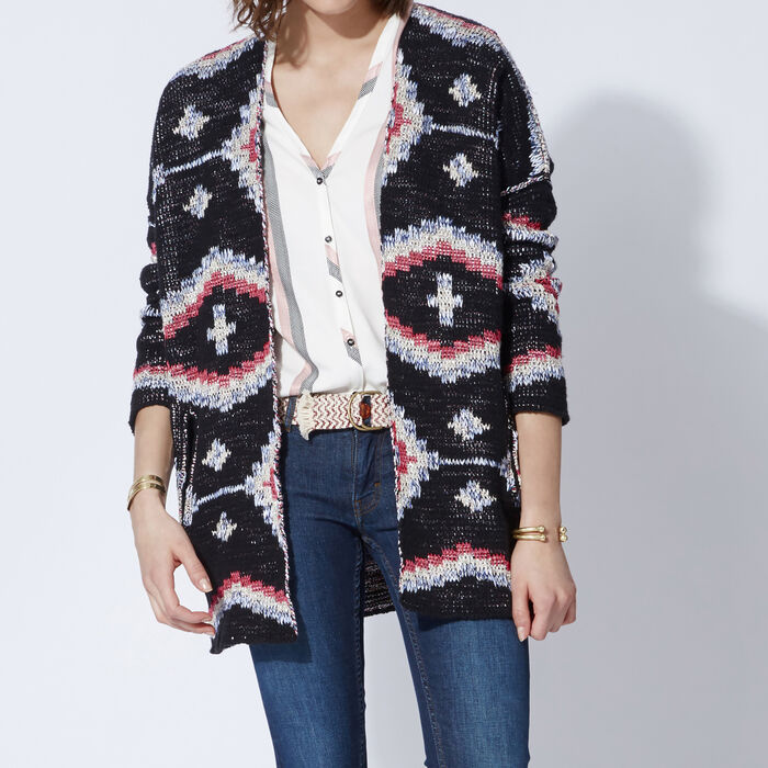 Jacquard knit reversible long cardigan : Copy of Sale color