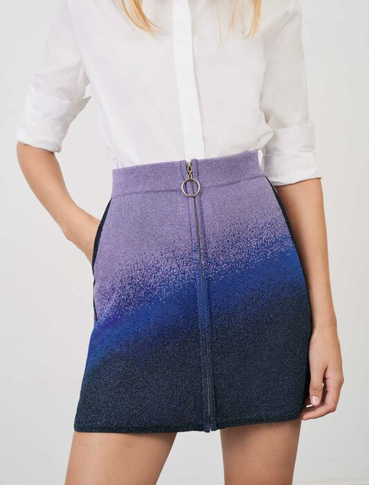 Lurex knit, straight-cut skirt with zip : Skirts & Shorts color Blue/Green/Purple