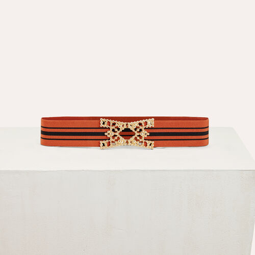 Wide elasticated belt with stripes : Belts color Brick