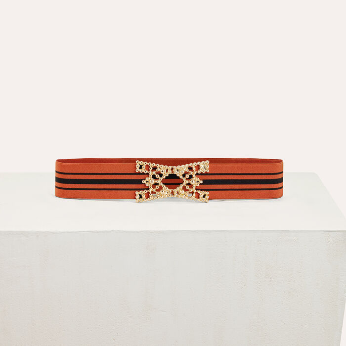 Wide elasticated belt with stripes : Shoes & Accessories color Brick