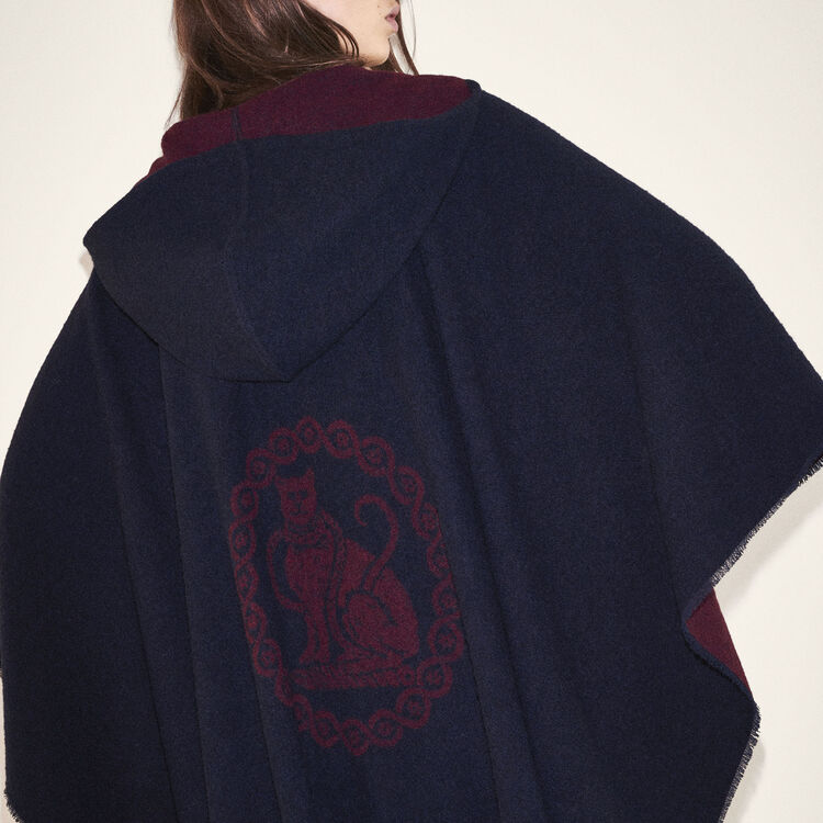 Reversible hooded poncho : Shoes & Accessories color BORDEAUX