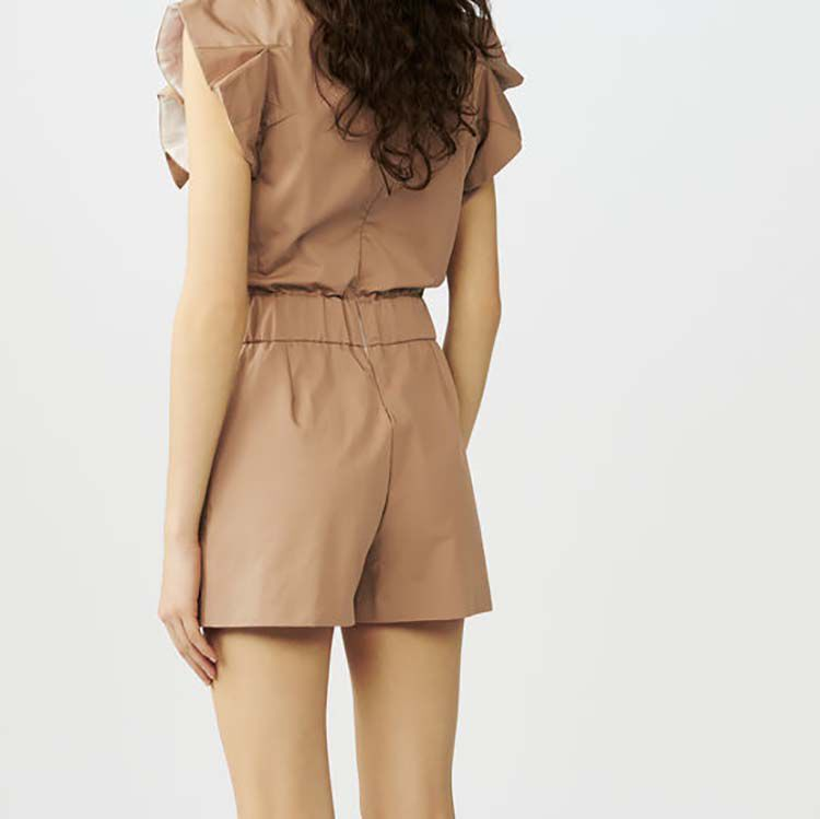 Cotton canvas romper : Skirts & Shorts color Beige