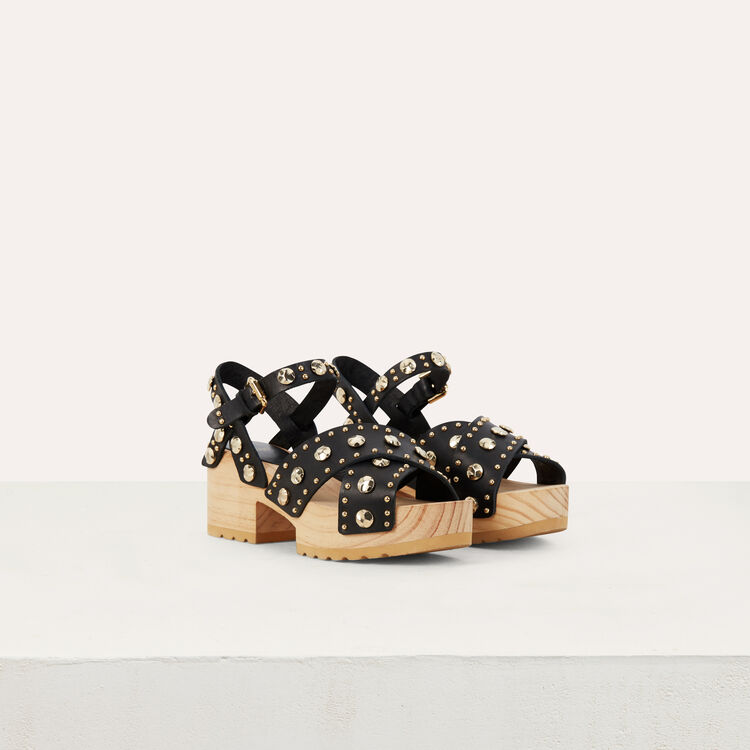 Wood heel sandals with studs : Shoes color Black