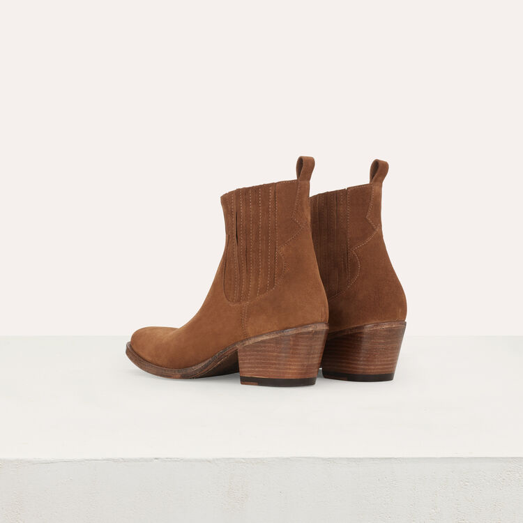 Suede booties with Western-style cutouts : Shoes color Camel