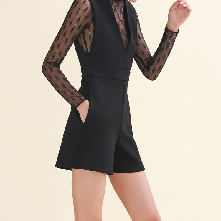 Dual-material playsuit : Skirts & Shorts color Black 210