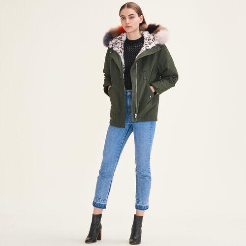 Reversible printed fur parka : Coats & Jackets color Khaki