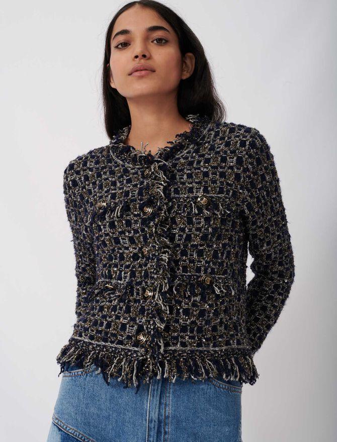 Fancy lurex knit cardigan - Sweaters - MAJE