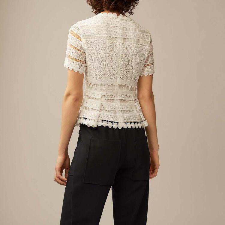 Contoured lace top : Tops & T-Shirts color ECRU