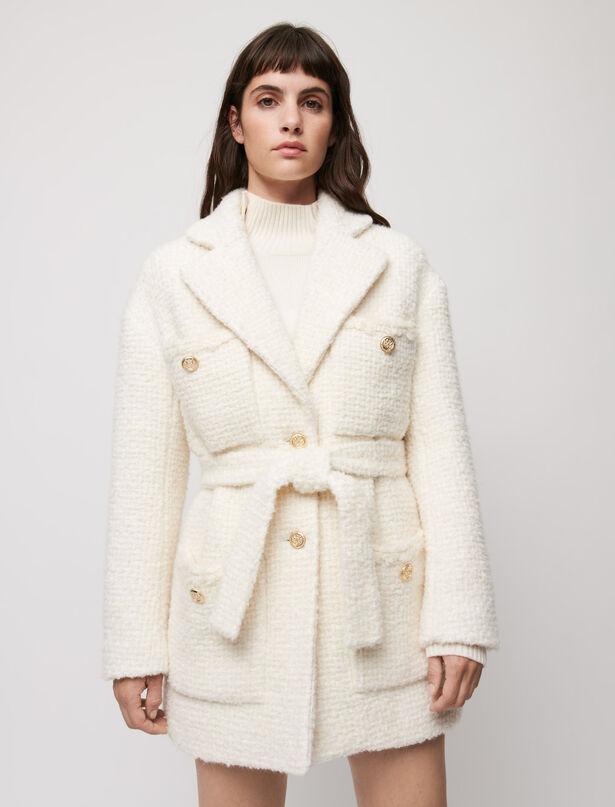 마쥬 MAJE Belted tweed-style coat,Ecru