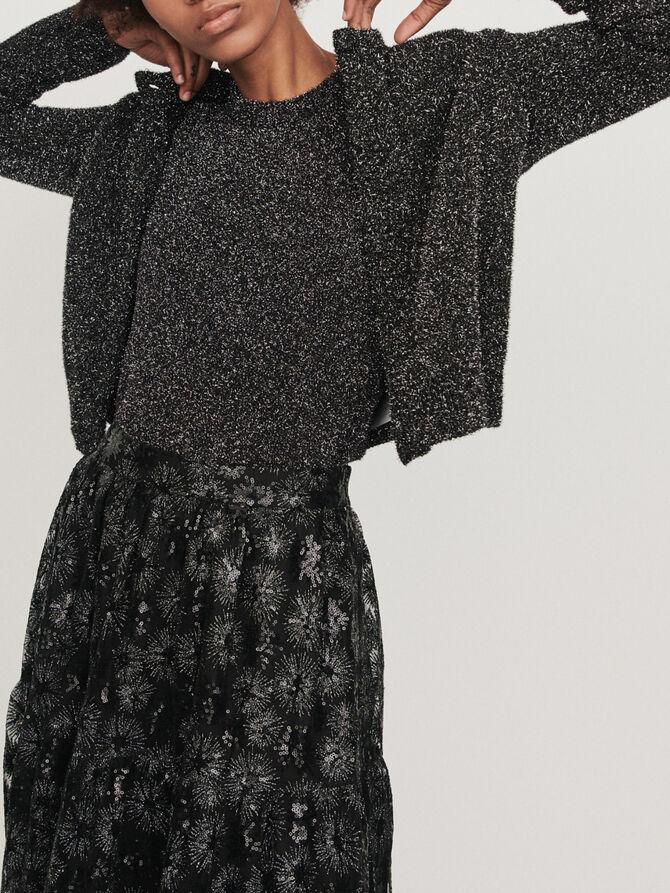 Cropped Lurex cardigan - Sweaters - MAJE