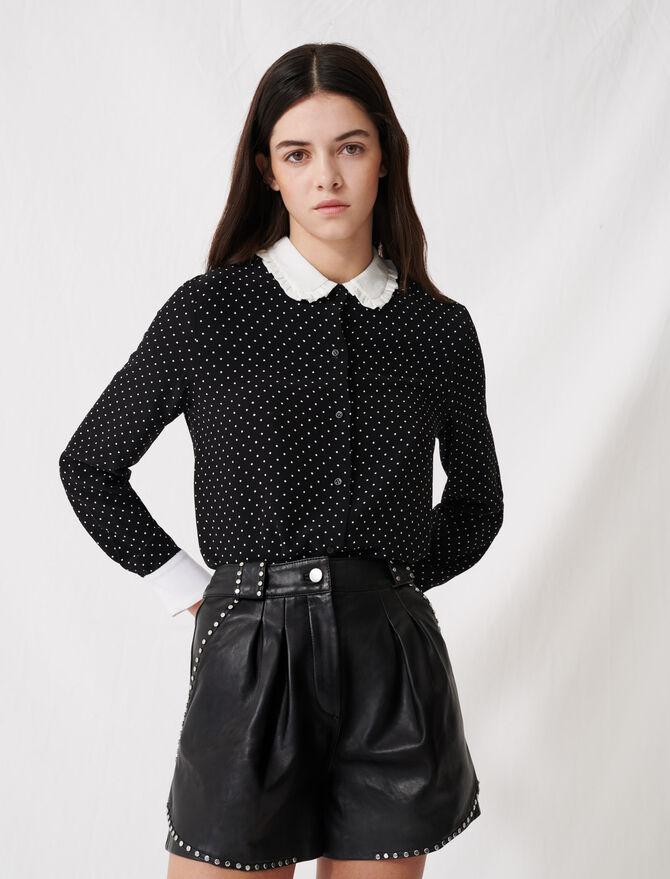 Polka dot shirt with contrasting collar - Tops & T-Shirts - MAJE