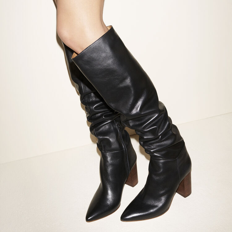 Leather thigh boots with heel : Shoes color Black 210
