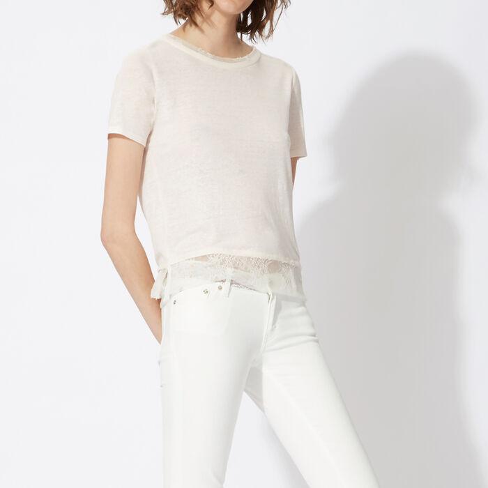 Linen and lace T-shirt : Copy of Sale color