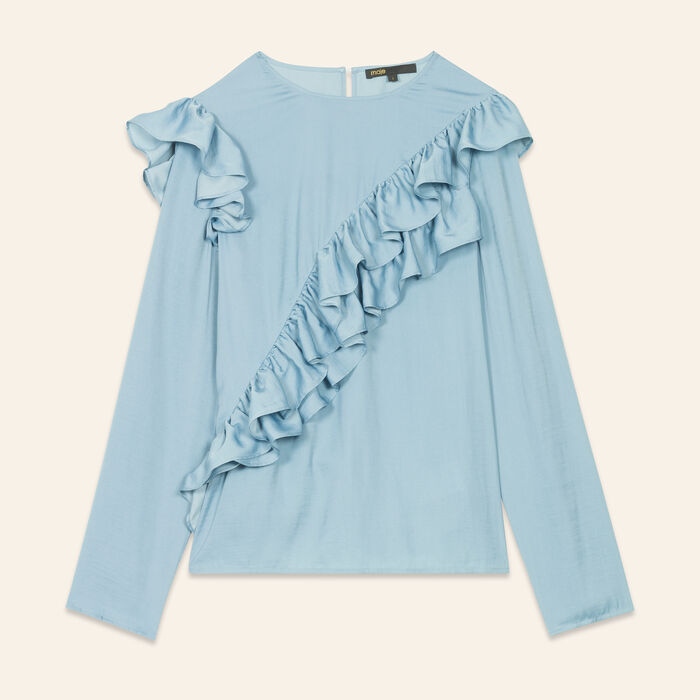 Frilled top : Tops & Shirts color Blue