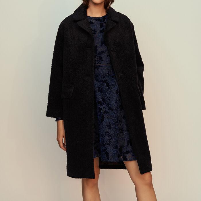 Long alpaca coat : Coats & Jackets color Navy