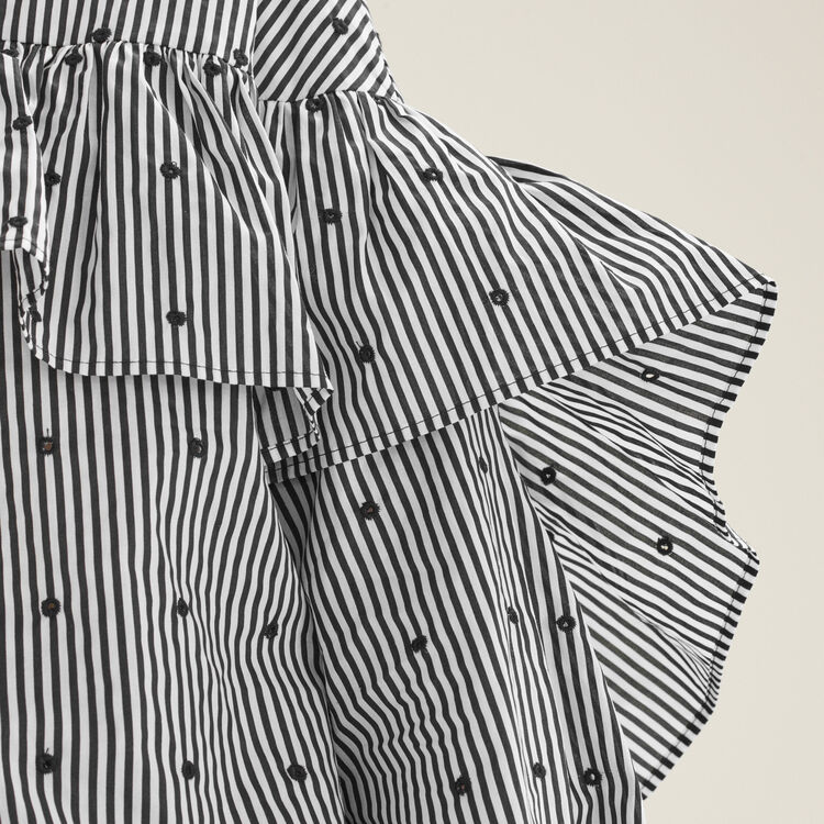 Striped blouse with frills : null color