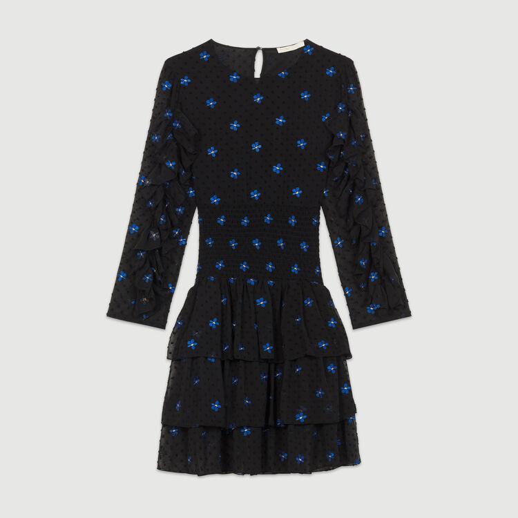 Embroidered chiffon dress : Dresses color Black 210