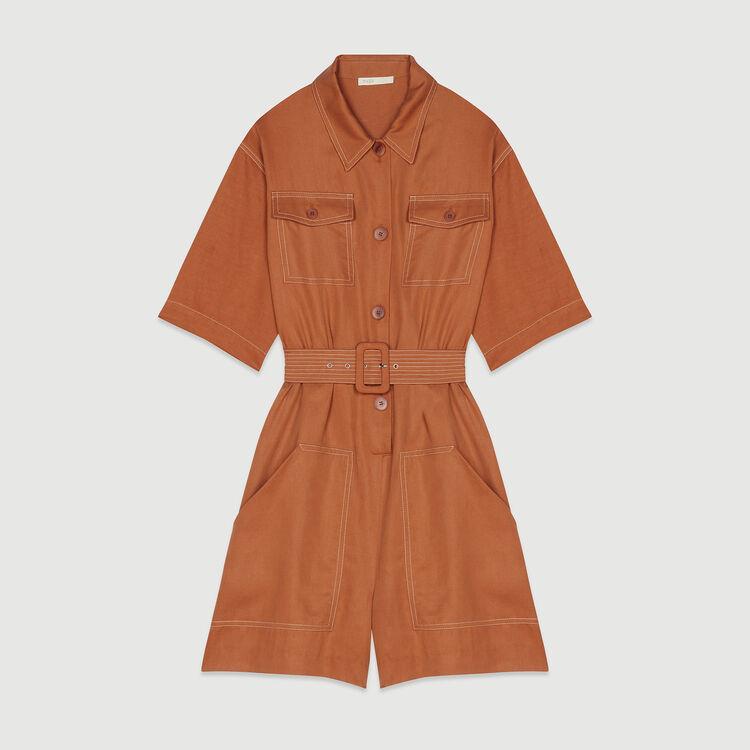 Shirt romper : Jumpsuits & Rompers color Terracota