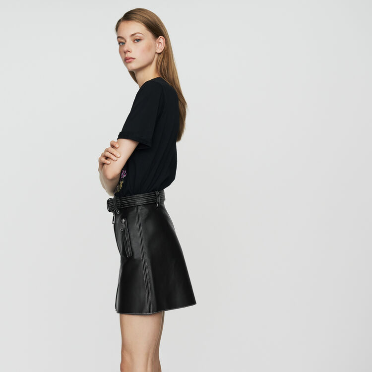 Leather A-line skirt : New Collection color Black 210